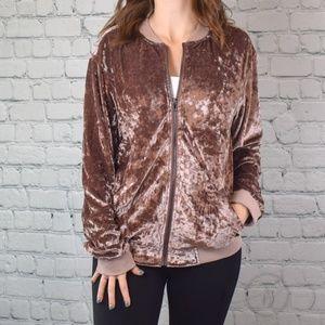 Vintage Rose Velvet Bomber Jacket